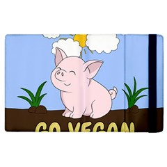 Go Vegan   Cute Pig Apple Ipad 3/4 Flip Case by Valentinaart