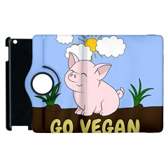 Go Vegan   Cute Pig Apple Ipad 3/4 Flip 360 Case by Valentinaart