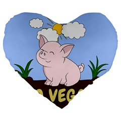 Go Vegan   Cute Pig Large 19  Premium Flano Heart Shape Cushions by Valentinaart