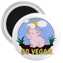 Go Vegan   Cute Pig 3  Magnets by Valentinaart