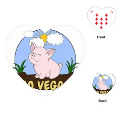 Go Vegan   Cute Pig Playing Cards (heart)  by Valentinaart