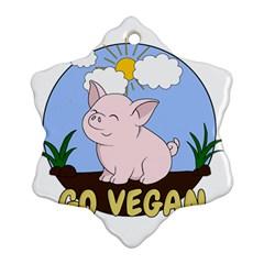 Go Vegan   Cute Pig Ornament (snowflake) by Valentinaart
