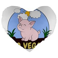 Go Vegan   Cute Pig Large 19  Premium Heart Shape Cushions by Valentinaart