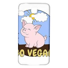 Go Vegan   Cute Pig Samsung Galaxy S5 Back Case (white) by Valentinaart