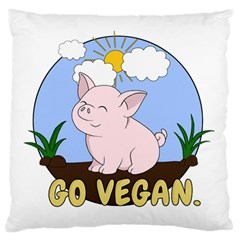 Go Vegan   Cute Pig Large Flano Cushion Case (one Side) by Valentinaart