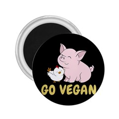 Go Vegan   Cute Pig And Chicken 2 25  Magnets by Valentinaart