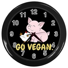 Go Vegan   Cute Pig And Chicken Wall Clocks (black) by Valentinaart