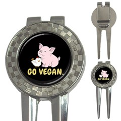Go Vegan   Cute Pig And Chicken 3 In 1 Golf Divots by Valentinaart