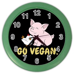 Go Vegan   Cute Pig And Chicken Color Wall Clocks by Valentinaart