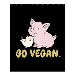 Go Vegan   Cute Pig And Chicken Shower Curtain 60  X 72  (medium)  by Valentinaart