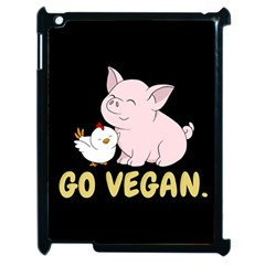 Go Vegan   Cute Pig And Chicken Apple Ipad 2 Case (black) by Valentinaart