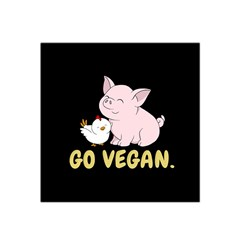 Go Vegan   Cute Pig And Chicken Satin Bandana Scarf by Valentinaart