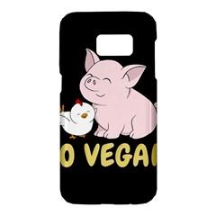 Go Vegan   Cute Pig And Chicken Samsung Galaxy S7 Hardshell Case  by Valentinaart