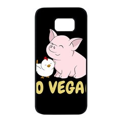 Go Vegan   Cute Pig And Chicken Samsung Galaxy S7 Edge Black Seamless Case