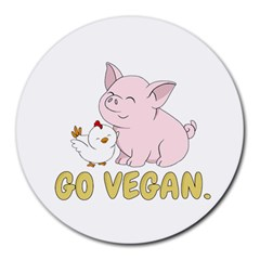 Go Vegan   Cute Pig And Chicken Round Mousepads by Valentinaart