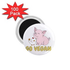 Go Vegan   Cute Pig And Chicken 1 75  Magnets (100 Pack)  by Valentinaart