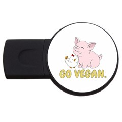 Go Vegan   Cute Pig And Chicken Usb Flash Drive Round (2 Gb) by Valentinaart