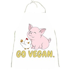 Go Vegan   Cute Pig And Chicken Full Print Aprons