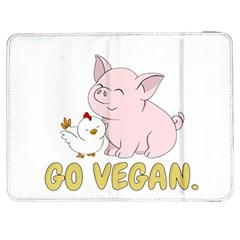 Go Vegan   Cute Pig And Chicken Samsung Galaxy Tab 7  P1000 Flip Case by Valentinaart