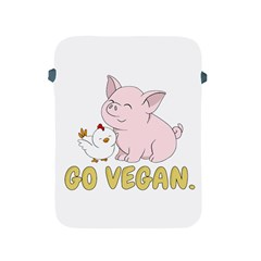 Go Vegan   Cute Pig And Chicken Apple Ipad 2/3/4 Protective Soft Cases by Valentinaart
