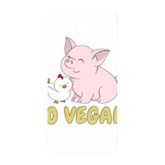 Go Vegan   Cute Pig And Chicken Samsung Galaxy Alpha Hardshell Back Case by Valentinaart