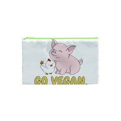 Go Vegan   Cute Pig And Chicken Cosmetic Bag (xs) by Valentinaart