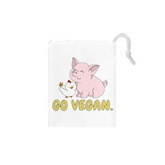 Go Vegan   Cute Pig And Chicken Drawstring Pouches (xs)  by Valentinaart