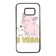 Go Vegan   Cute Pig And Chicken Samsung Galaxy S7 Black Seamless Case by Valentinaart