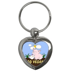 Go Vegan   Cute Pig And Chicken Key Chains (heart)  by Valentinaart