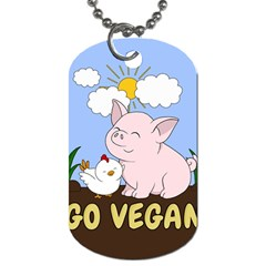 Go Vegan   Cute Pig And Chicken Dog Tag (two Sides) by Valentinaart