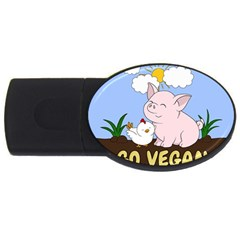 Go Vegan   Cute Pig And Chicken Usb Flash Drive Oval (2 Gb) by Valentinaart