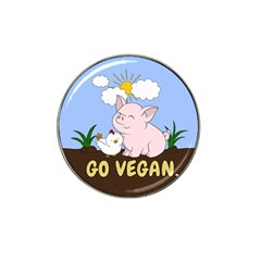 Go Vegan   Cute Pig And Chicken Hat Clip Ball Marker by Valentinaart