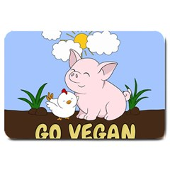 Go Vegan   Cute Pig And Chicken Large Doormat  by Valentinaart