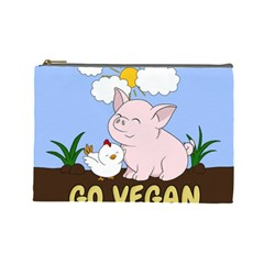 Go Vegan   Cute Pig And Chicken Cosmetic Bag (large)  by Valentinaart
