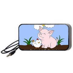 Go Vegan   Cute Pig And Chicken Portable Speaker by Valentinaart