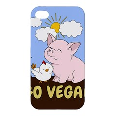 Go Vegan   Cute Pig And Chicken Apple Iphone 4/4s Hardshell Case by Valentinaart