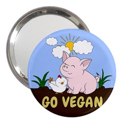 Go Vegan   Cute Pig And Chicken 3  Handbag Mirrors by Valentinaart