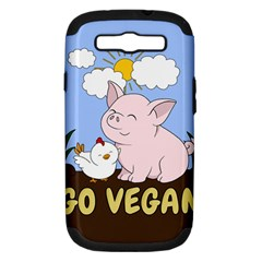 Go Vegan   Cute Pig And Chicken Samsung Galaxy S Iii Hardshell Case (pc+silicone) by Valentinaart