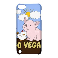 Go Vegan   Cute Pig And Chicken Apple Ipod Touch 5 Hardshell Case With Stand by Valentinaart