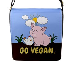 Go Vegan   Cute Pig And Chicken Flap Messenger Bag (l)  by Valentinaart