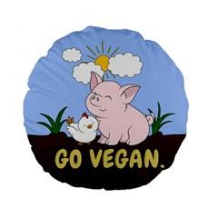Go Vegan   Cute Pig And Chicken Standard 15  Premium Flano Round Cushions by Valentinaart