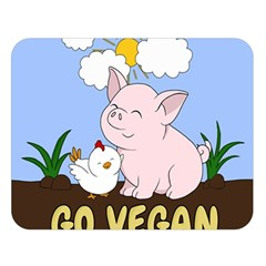 Go Vegan   Cute Pig And Chicken Double Sided Flano Blanket (large)  by Valentinaart