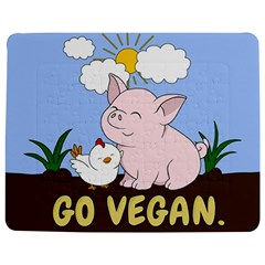 Go Vegan   Cute Pig And Chicken Jigsaw Puzzle Photo Stand (rectangular) by Valentinaart