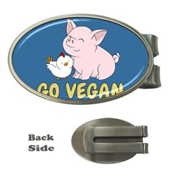 Go Vegan   Cute Pig And Chicken Money Clips (oval)  by Valentinaart