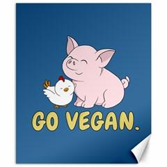 Go Vegan   Cute Pig And Chicken Canvas 8  X 10  by Valentinaart