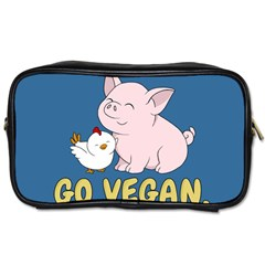 Go Vegan   Cute Pig And Chicken Toiletries Bags