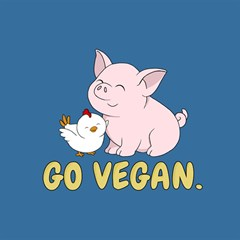 Go Vegan   Cute Pig And Chicken Magic Photo Cubes by Valentinaart