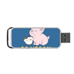 Go Vegan   Cute Pig And Chicken Portable Usb Flash (one Side) by Valentinaart