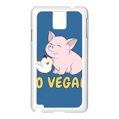 Go Vegan   Cute Pig And Chicken Samsung Galaxy Note 3 N9005 Case (white) by Valentinaart