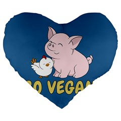 Go Vegan   Cute Pig And Chicken Large 19  Premium Flano Heart Shape Cushions by Valentinaart
